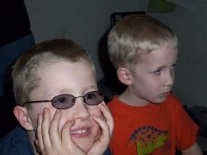 Two buzz cut kids